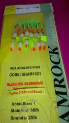 Shamrock Bleeding Gloworm Rig with beads and blades